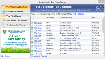 Tax Filing Center Screenshot