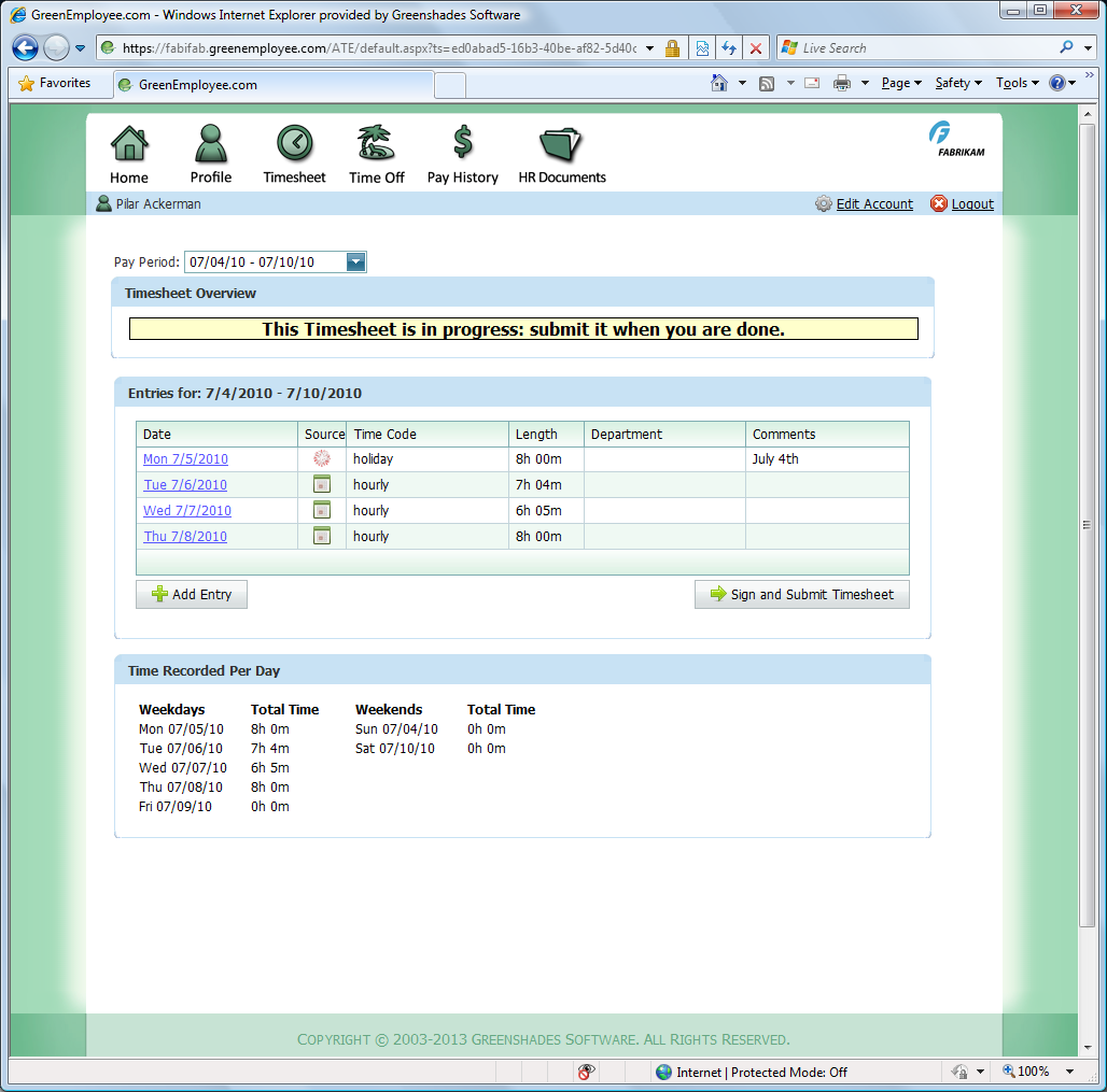 Greenshades Online Timesheets for Dynamics GP
