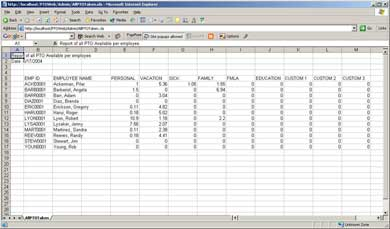 Professional PTO will export any of its reports to Excel so that you ...